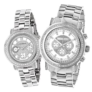 Luxurman Oversized Diamond 'His and Hers' Changing Band Watch Set with Metal Bands and Extra Leather