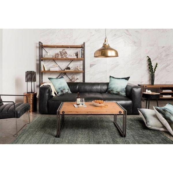 Genial Aurelle Home Rustic Vintage Black Top Grain Leather Sofa