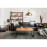 Aurelle Home Rustic Vintage Black Top Grain Leather Sofa