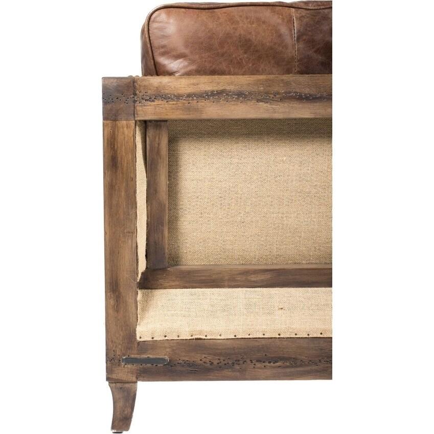 Pleasing Aurelle Home Dina Vintage Brown Leather Sofa 31 5 X 71 7 X 30 7 Short Links Chair Design For Home Short Linksinfo