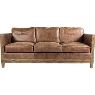 Aurelle Home Monarchy Antique Rustic Distressed Leather Sofa
