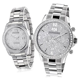 Luxurman Stainless Steel Diamond-paved His and Hers Watch Set