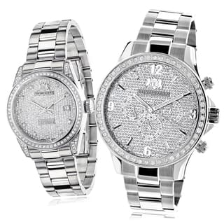 Luxurman Stainless Steel Diamond-paved His and Hers Watch Set|https://ak1.ostkcdn.com/images/products/9487388/P16668564.jpg?impolicy=medium