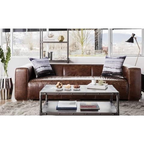 Aurelle Home Vintage Dark Brown Top Grain Leather Sofa