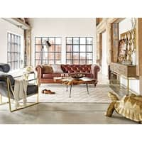 Aurelle Home Premier Top Grain Leather Chesterfield Sofa