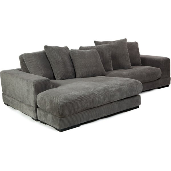 Aurelle Home Charcoal Left Or Right Grey Sectional Sofa
