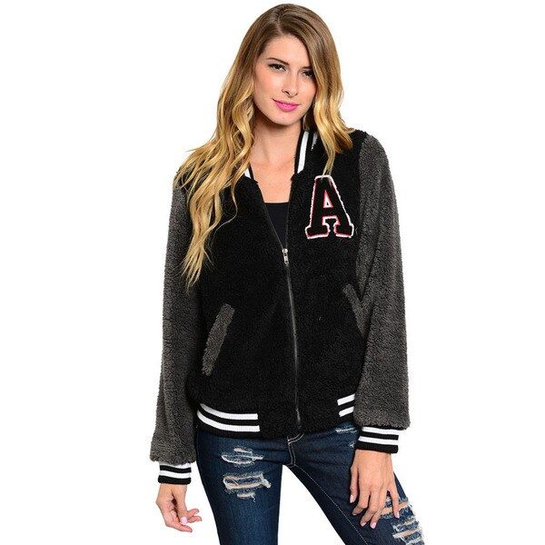 Shop The Trends Women's Long Sleeve Fuzzy Fur Varsity Jacket