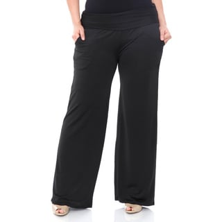 24/7 Comfort Apparel Women's Plus Size Wide-leg Palazzo Pants ...