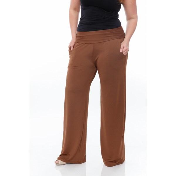 Plus Size BROWN FOLD-OVER Waist STRETCH PALAZZO WIDE-LEG PANTS Fast U.S Ship!