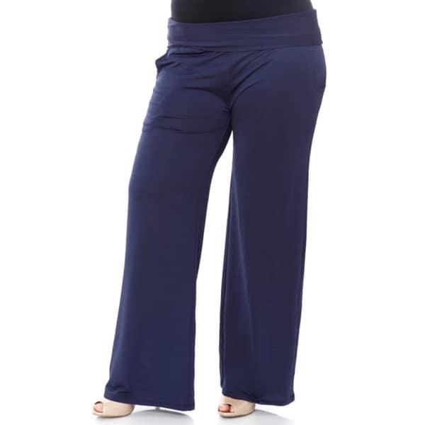 Womens Extra Wide Straight Leg Trouser Elastic Waist Ladies Plus Size Palazzo