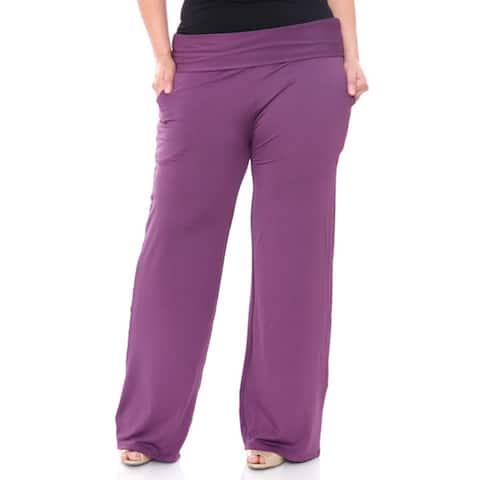 White Mark Women's Plus Size Wide Leg Palazzo Pants