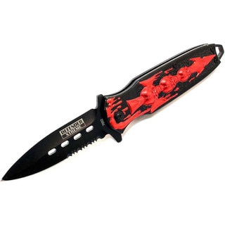 """7.5"""" Defender Extreme Spring Assisted Skull Design Knife with Serrated Stainless Steel Blade"""