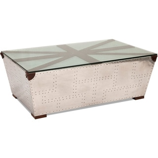 Greek key silver coffee table with glass top free shipping today 16839294 Silver trunk coffee table