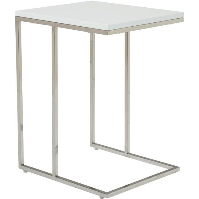 Aurelle Home Modern C-Shaped End Table (White)