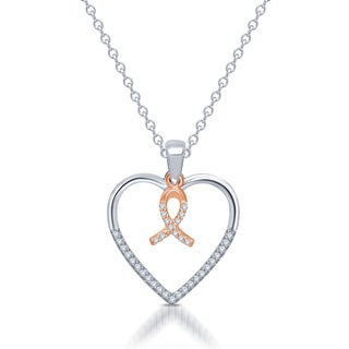 Unending Love 10k Rose Gold and Sterling Silver 'Silhouettes Of Love' Diamond Accent Heart Pendant