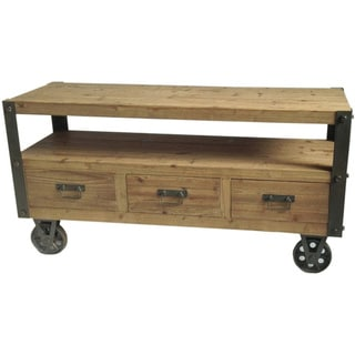 Aurelle Home Industrial Planked Wheeled TV Stand