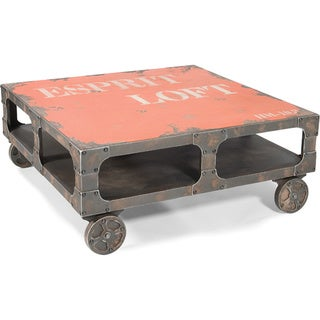 Aurelle Home Distressed Industrial Coffee Table