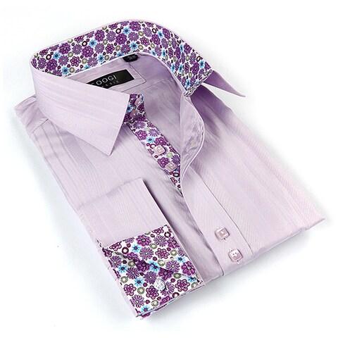 Coogi Luxe Men's Purple/ Floral Button Down Dress Shirt
