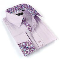 Coogi Luxe Men's Purple/ Floral Button Down Dress Shirt