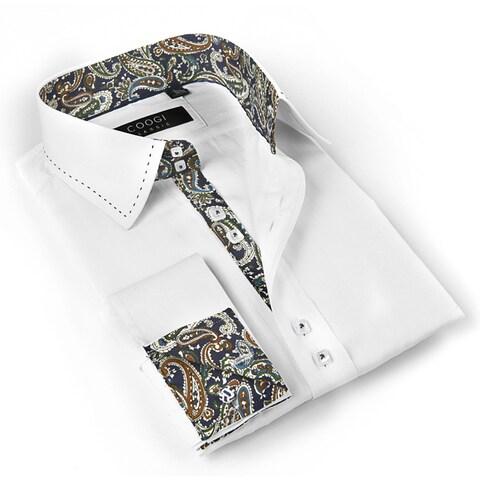 Coogi Luxe Men's White/ Paisley Button Down Dress Shirt