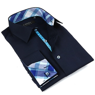 Coogi Luxe Men's Navy Button Down Dress Shirt