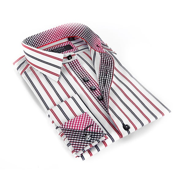 Coogi Luxe Men's Black Red/ White Striped Button Down Dress Shirt ...