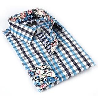 Coogi Luxe Men's White/ Aqua Button Down Dress Shirt