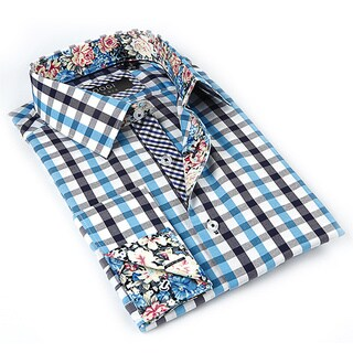 Coogi Luxe Men's White/ Aqua Button Down Dress Shirt