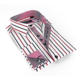 Coogi Luxe Men's Black Red/ White Stripe Button Down Dress Shirt|https://ak1.ostkcdn.com/images/products/9487537/P16668668.jpg?impolicy=medium