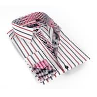 Coogi Luxe Men's Black Red/ White Stripe Button Down Dress Shirt