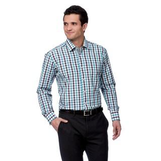 Coogi Luxe Men's White/ Black/ Blue Button Down Dress Shirt