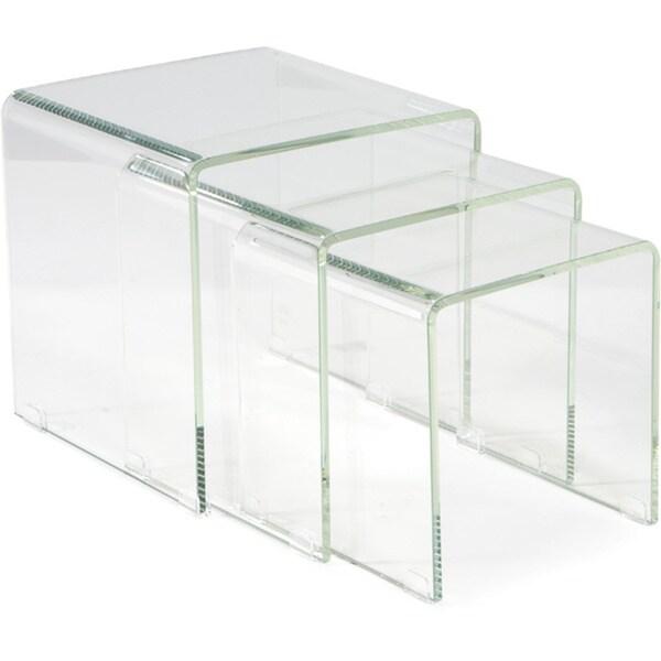 Aurelle Home 3-piece Clear Glass Nesting Table Set