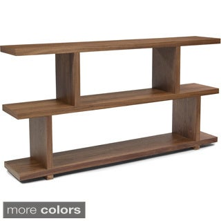 Aurelle Home Open Style Walnut Wood Storage Bookcase