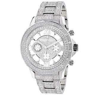 Luxurman Men's 1ct TDW White Diamond Bezel and Band Watch
