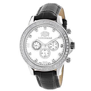 Luxurman Men's Liberty 2ct Black Leather Band with White Mother of Pearl Watch with Metal Band and E
