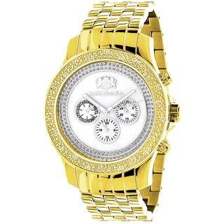 Luxurman Men's Yellow Gold 1/4ct TDW White Diamond Watch with Metal Band and Extra Leather Straps