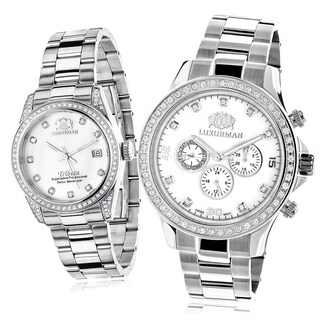 Luxurman His and Hers White Goldplated Stainless Steel Diamond Watch Set