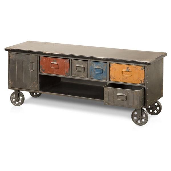 Aurelle Home Distressed Antique Rustic Drawer Cabinet