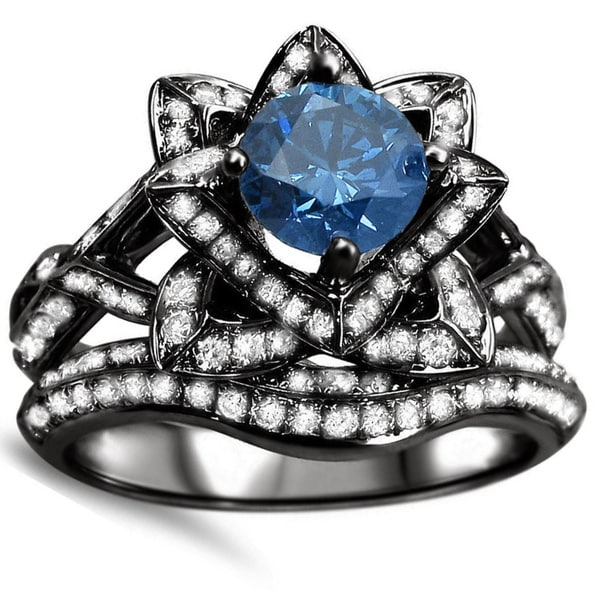 Noori 14k Black Gold 2ct Blue Round Diamond Lotus Flower Engagement Ring Brid