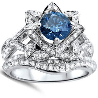 Noori 14k White Gold 2ct Blue Round Diamond Lotus Flower Engagement Ring Bridal Ring Set