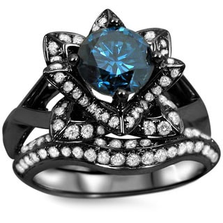 Noori 14k Black Gold 1 3/5ct Blue Round Diamond Lotus Flower Engagement Ring Bridal Ring Set