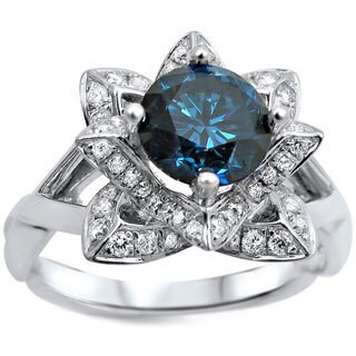 Noori 14k White Gold 1 1/4ctw Blue Round Diamond Lotus Flower Engagement Ring (G-H, SI1-SI2)