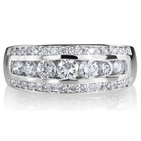 SummerRose 14k White Gold 1ct TDW 3-row Diamond Ring