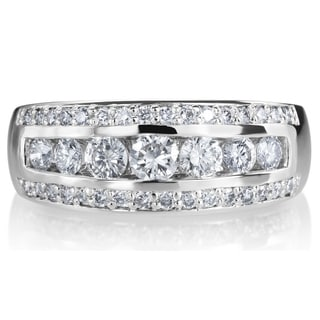 SummerRose 14k White Gold 1ct TDW 3-row Diamond Ring