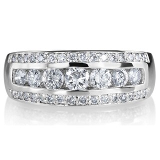 SummerRose 14k White Gold 1ct TDW 3-row Diamond Ring (More options available)
