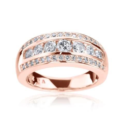 SummerRose 14k Gold 1ct TDW 3-row Diamond Ring