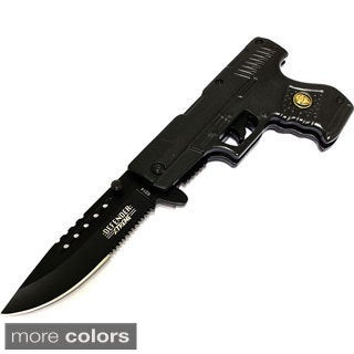 "8"" Spring Assisted Gun Design Knife with Belt Clip"