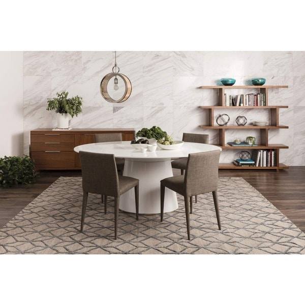 Aurelle Home Hausen Oval White Kitchen Table