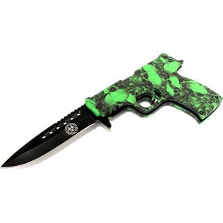 """8.5"""" Spring Assisted Folding Zombie Gun Knife Green Skull Handle"""