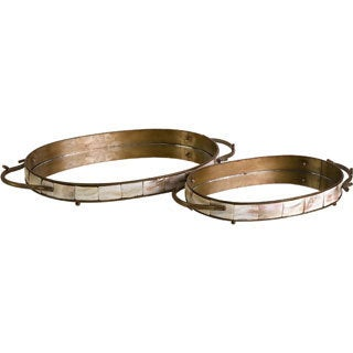 Noelle Oval Tray with Mirror (Set of 2)